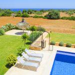 Ferienhaus Mallorca MA4660 Blick über den Pool auf das Meer