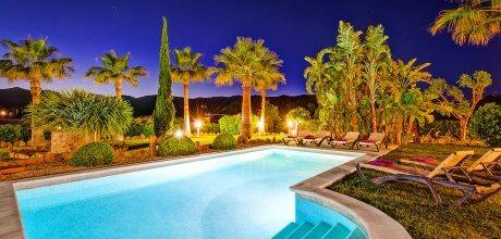 Mallorca Nordküste – Luxus-Finca Pollensa 4310 mit Pool & beheiztem Garten-Whirlpool auf herrlichem Gartengrundstück, Strand 2,5km. An- und Abreisetag Samstag!