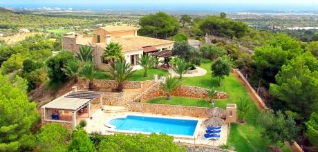 Mallorca Südostküste – Komfort Ferienhaus S'Horta 3930 mit Pool und herrlichem Panoramablick bis zum Meer, Grundstück 7.000qm, Wohnfläche 198qm. An- und Abreisetag nur Samstag. – 2018 jetzt buchen!