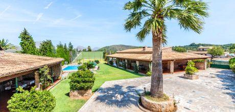 Mallorca Nordküste – Ferienhaus Pollensa 3490 mit Tennisplatz, Pool und Whirlpool mieten, Strand 3,8km. Wechseltag vom 30.06. – 25.08. ist Samstag, Rest flexibel.