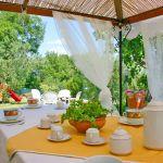Ferienhaus Toskana TOH500 überdachte Terrasse mit Esstisch