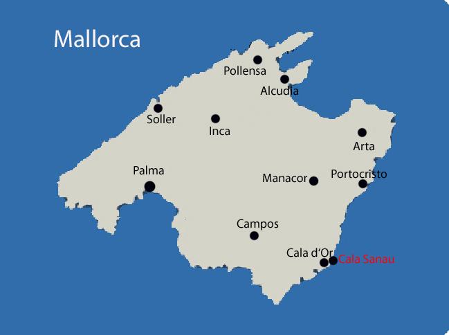 Cala Sanau auf Mallorca Karte