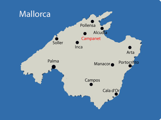 Mallorca Karte von Campanet