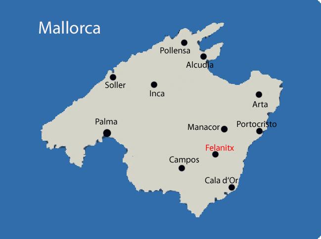 Felanitx auf der Mallorca Karte