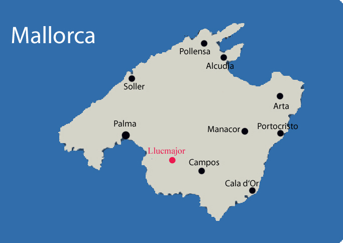Llucmajor auf Mallorca Karte