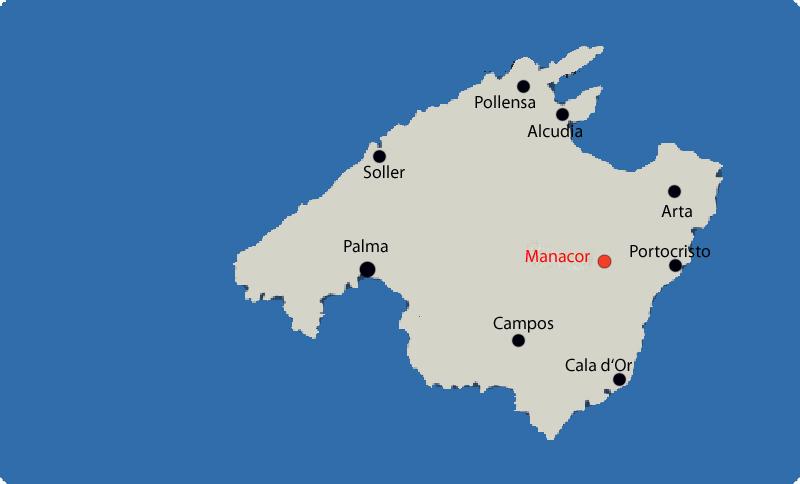 Manacor auf Mallorca Karte