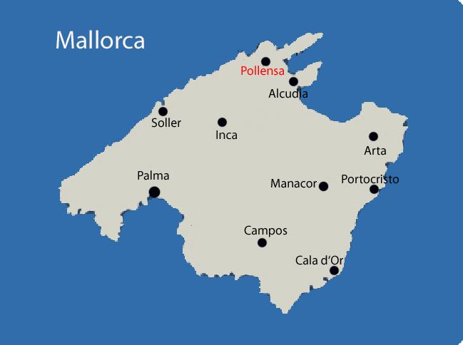 Mallorca Karte mit Pollensa