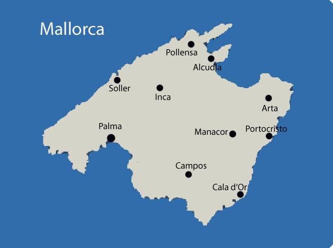 Porto Cristo auf Mallorca Karte