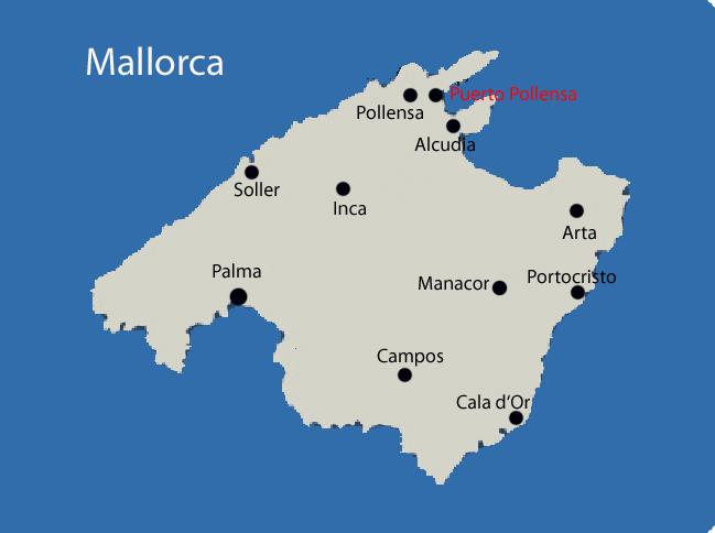 Puerto Pollensa auf der Mallorca Karte