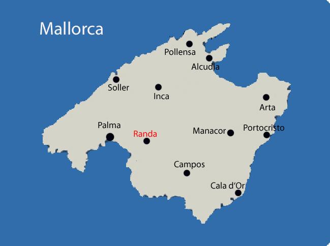 Randa auf der Mallorca Karte