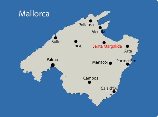 Santa Margalida auf der Mallorca Karte