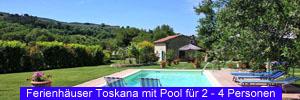 Ferienhäuser Toskana mit Pool für 2 bis 4 Personen