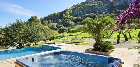 Mallorca Nordküste – Komfort-Finca Pollensa 3112 mit Pool und Garten-Whirlpool, Grundstück 7.000qm, Wohnfläche 220qm. An- und Abreisetag Samstag, Nebensaison flexibel auf Anfrage – Mindestmietzeit 1 Woche.