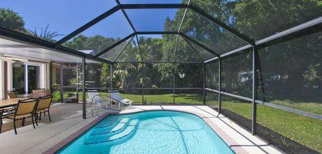 Komfort-Ferienhaus Florida Manasota Beach 31720 mit beheizbarem Pool in Strandnähe (ca. 1,5km), Grundstück ca. 1.500qm, Wohnfläche ca. 200qm. Wechseltag flexibel, Mindestmietzeit 1 Woche.