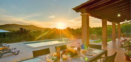 Mallorca Südostküste – Deluxe-Ferienhaus Cas Concos 33183 mit Pool und Internet für 6 Personen mit Panorama-Ausblick. Wechseltag Samstag! 2019 buchbar.