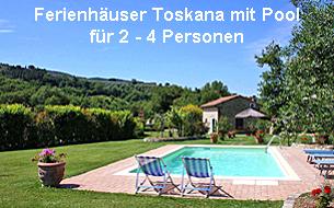 Ferienhäuser Toskana mit Pool für 2 - 4 Personen