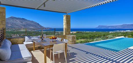 Ferienhaus Kreta Kaliviani 23165 mit Pool (beheizbar) und Meerblick für 4 Personen. An- und Abreisetag Dienstag.