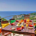 Ferienhaus Costa Brava CBV3163 Balkon mit Esstisch und Meerblick