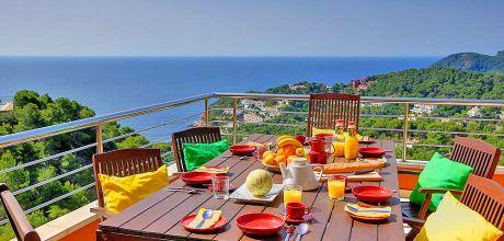 Ferienhaus Costa Brava Tamariu 3163 mit privatem Pool und Meerblick für 6 Personen, Strand = 1,6 km. Wechseltag Sonntag.