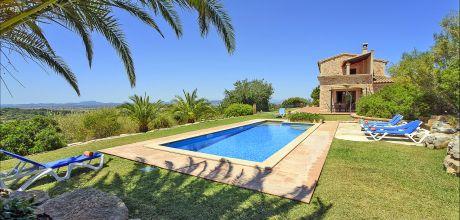 Mallorca Südostküste – Finca Son Macia 3928 mit privatem Pool und Panoramablick für 6 Personen, Strand 10 km. An- und Abreisetag Samstag! 2019 buchbar!