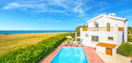 Ferienhaus Zypern Polis 3733 mit Pool und Meerblick für 6 Personen nur ca. 100 m vom Strand entfernt. Wechseltag Sonntag, Nebensaison flexibel auf Anfrage – Mindestmietzeit 1 Woche.