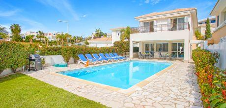 Ferienhaus Zypern Coral Bay 4744 mit Pool für 8 Personen nur ca. 350 m vom Strand entfernt. Wechseltag Mittwoch – Nebensaison flexibel auf Anfrage, Mindestmietzeit 1 Woche.