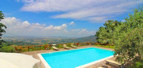 Ferienhaus Toskana Cortona 401 mit Pool und Weitblick für 10 Personen, Wohnfläche 120 qm. Wechseltag Samstag, Nebensaison flexibel – Mindestmietzeit 1 Woche.