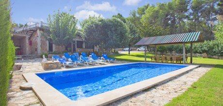 Mallorca Südküste – Ferienhaus Cala Blava 5074 für 11 Personen mit Pool, Strand = 3 km, Grundstück 30.000qm, Wohnfläche 280qm. An- und Abreisetag flexibel.