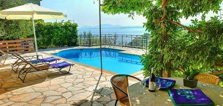 Ferienhaus Korfu Nissaki 22315 mit beheizbarem Pool und herrlichem Meerblick für 4 Personen. Strand = 450m. An- und Abreisetag Montag.