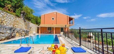 Ferienhaus Korfu Agios Stefanos 3611 mit privatem Pool und Meerblick für 6 Personen, Strand = 800m. Wechseltag Montag, Nebensaison flexibel auf Anfrage – Mindestmietzeit 1 Woche.