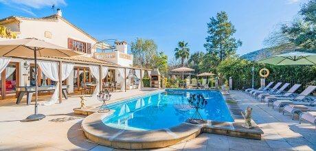 Mallorca Nordküste – Ferienhaus Pollensa 5048 für 10 Personen mit Pool und Internet. Grundstück 18.000qm, Wohnfläche 190qm. Wechseltag Samstag