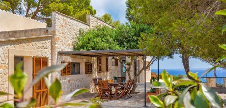 Mallorca Südostküste – Ferienhaus Cala S'Almunia 3966 mit Meerblick und Pool für 6 Personen, Strand = 200m. An- und Abreisetag flexibel auf Anfrage – Mindestmietzeit 1 Woche.