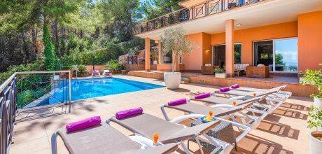 Mallorca Südküste – Villa Portals Nous 4400 mit Meerblick und Pool für 8 Personen bei Palma, Strand = 2,6  km. An- und Abreisetag Samstag, Nebensaison flexibel auf Anfrage – Mindestmietzeit 1 Woche.
