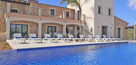 Mallorca Südostküste – Deluxe-Ferienhaus Calonge 6653 mit grossem Pool und Meerblick in exponierter Lage, Strand 4km. Wechseltag flexibel auf Anfrage – Mindestmietzeit 1 Woche.